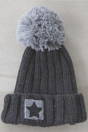 Star girl pompom winter accessories head hat
