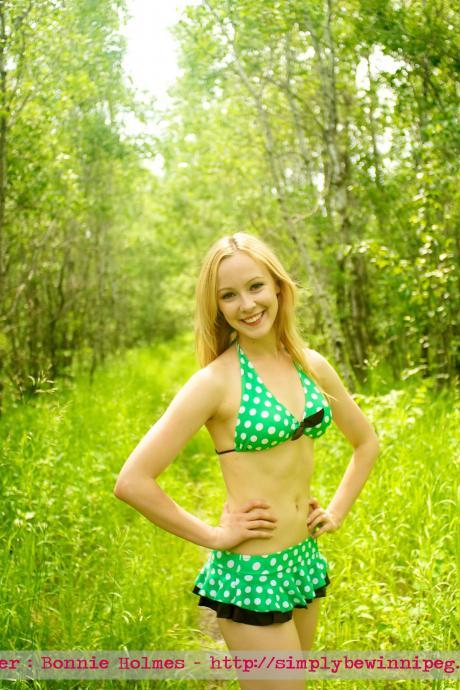 ON SALE!! Beautiful, Fun & Pretty Two Pieces Green Polka triangle top with skirt bottom