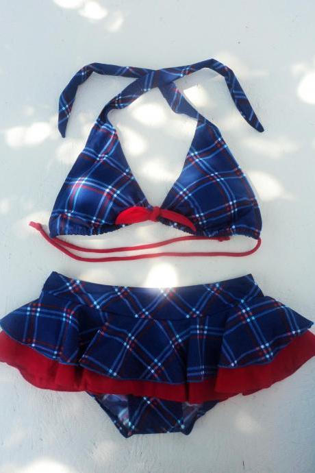ON SALE!! Beautiful, Fun & Pretty Two Pieces Blue Plaits triangle top with skirt bottom