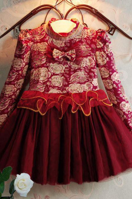 Christmas Dress for 3T,4T,5T,6T Long Sleeve Ruffled Red Pageant Chritsmas Luxury Dresses for Girls