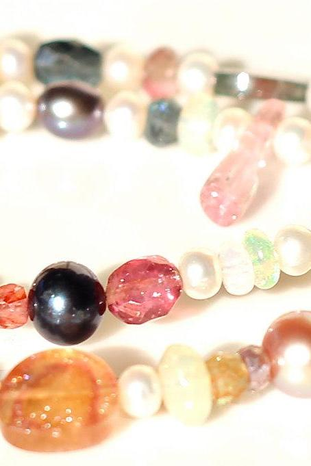 Custom Candy - The Luxe Friendship Bracelet Watermelon Tourmaline Slice Ethiopian Opal Pearl Charm Silver Multistrand