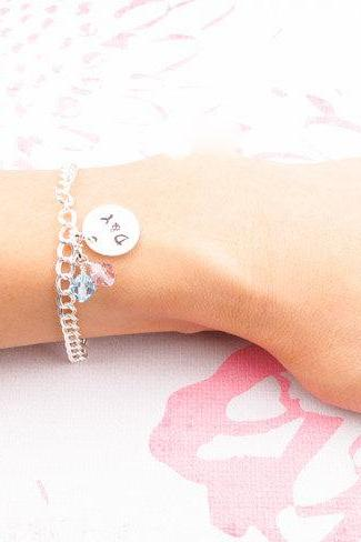 Custom engraved bracelet: personalized sterling silver charm bracelet