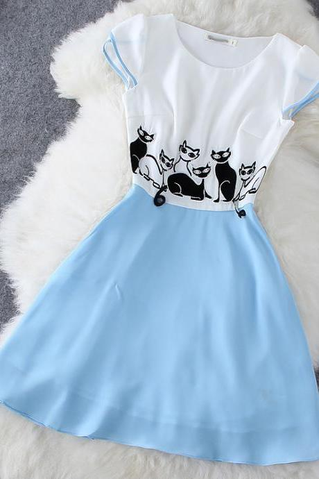 Kitten Neck Dress GD0702EB