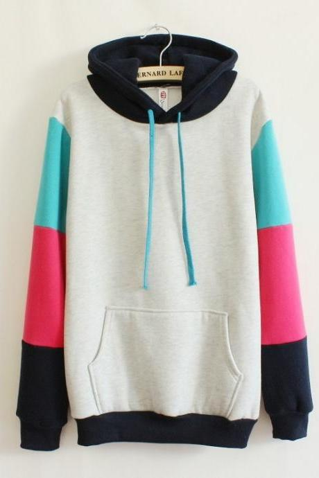 Mixed Colors Hooded Sweater AW915DE