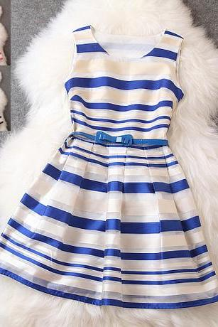 Navy Stripe Design Stitching Sleeveless Dress MSg