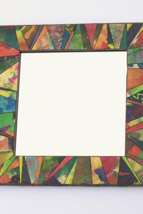 Wall Mirror Handmade Paper Square Colorful Abstract