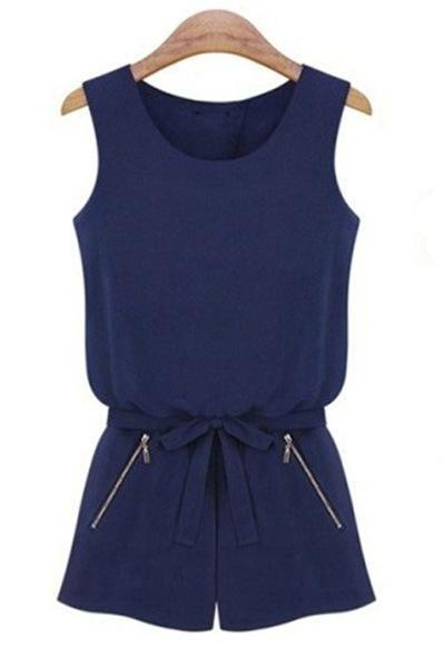 Slim Solid Color Sleeveless Fashion Casual Jumpsuit MOb