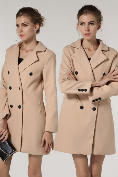 Elegant Double Breasted Winter Coat in Apricot