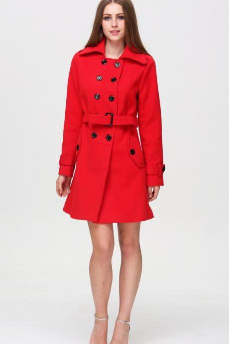 Red Winter Coat with Belt