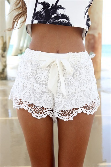 2014 Milla Crochet Lace Shorts Bow