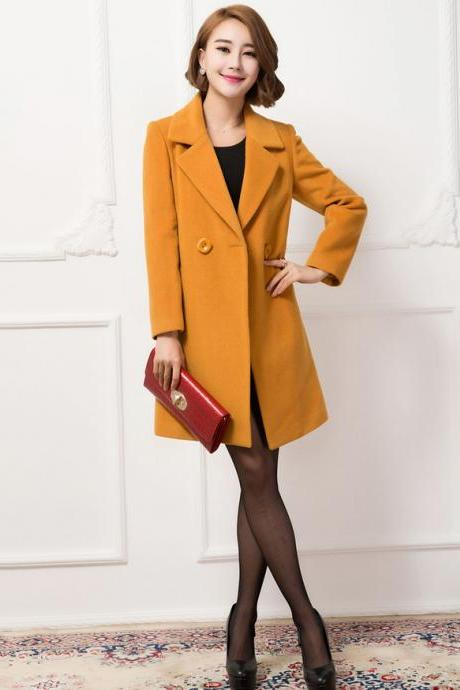 Chic Woolen Winter Coat In Yellow