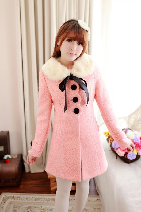 Cute Pink Faux Fur Coat With Bow