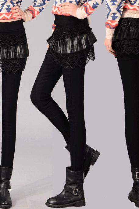 Pure Black Winter Leggings with Lace Detail