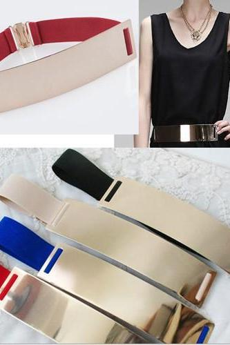 Gold Patent Leather Iron Metal Mirror Belt