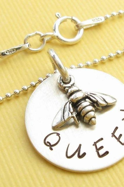Silver charm necklace - Queen Bee necklace - Necklace with charm Hand stamped charm necklace