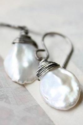 Pearl earrings, white wedding bridal jewelry, sterling silver, keshi, boho beach wedding june birthday