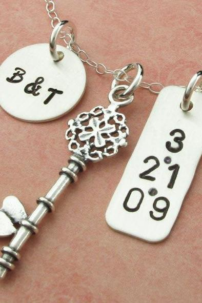 Silver Charm Necklace Key Charm Sterling Silver Pendant Anniversary