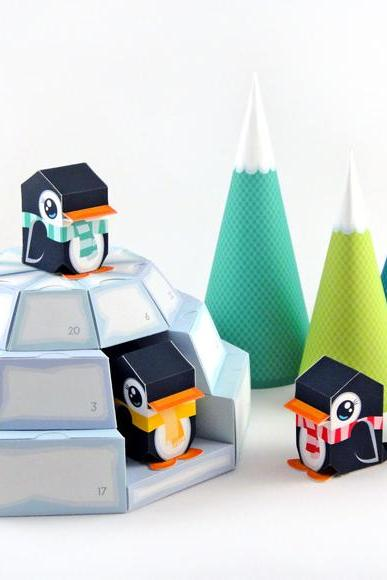 Igloo Advent Calendar - Printable Paper Craft PDF - Download