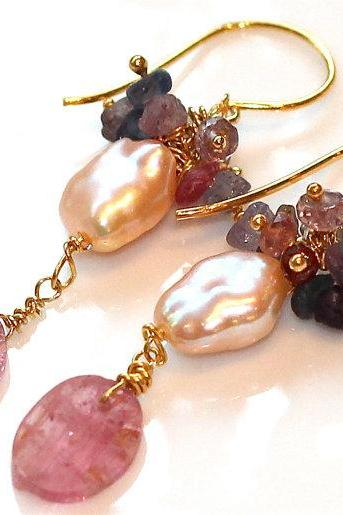 Hammered Tourmaline Oval Briolette Freshwater Pearl Rough Spinel Sapphire Gold Vermeil Dangle Earrings