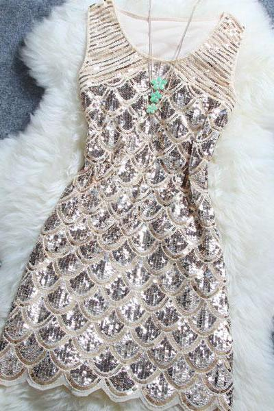 Sequined Night Club Woman Dress