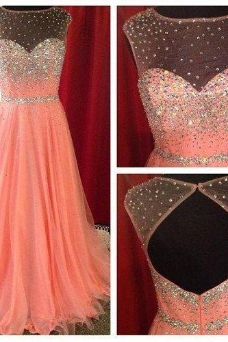 Custom Made Spark A-line Floor Length Blush Pink Bead Prom Dress, Straps Mint Peach Coral Prom Dress 2015, Prom Gown,Prom 2015