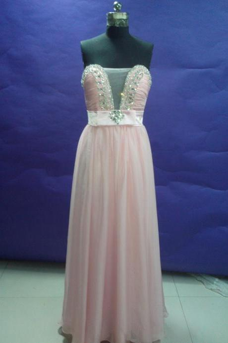 Handmade Elegant Light Pink Floor Length Chiffon Sweetheart Prom Dress with Rhinestone, Prom Dress 2015, Pink Occasion Dresses