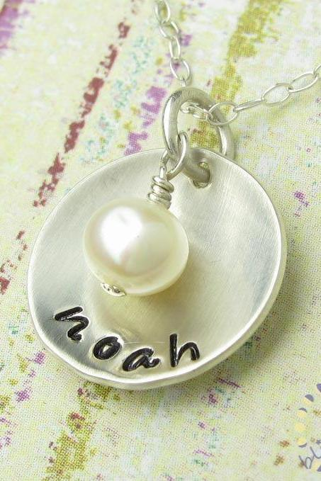 Mothers Hand Stamped Jewelry - Personalized Sterling Silver Necklace - Domed Pendant