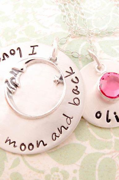 Hand Stamped Jewelry for Mothers I Love You To the Moon and Back Personalized Sterling Silver Necklace with Name and Birthstone