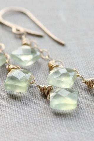 spring green earrings, gemstone earrings, faceted gold wire wrapped fashion