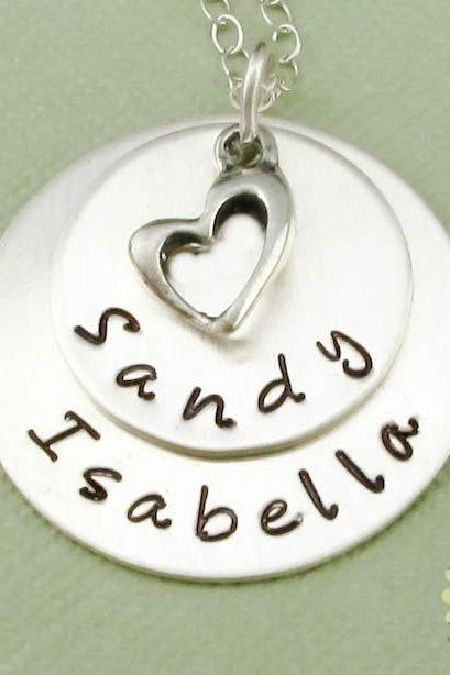Custom made necklace sterling silver personalized jewelry heart pendant