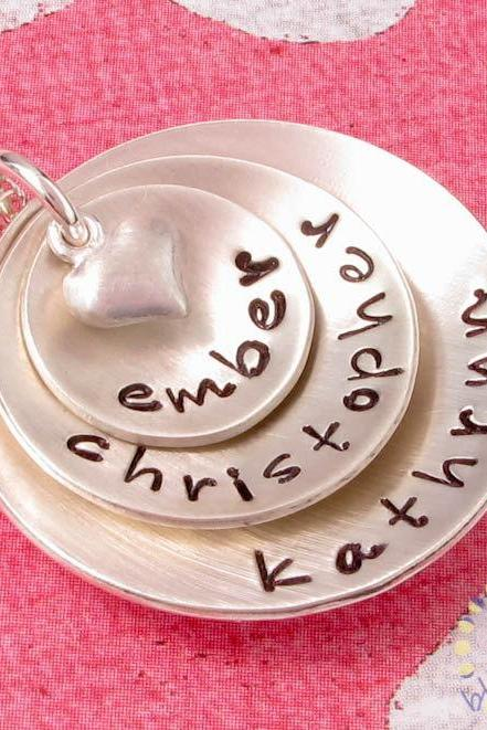 "Hand Stamped Jewelry"" Personalized sterling silver necklace for mom three discs"
