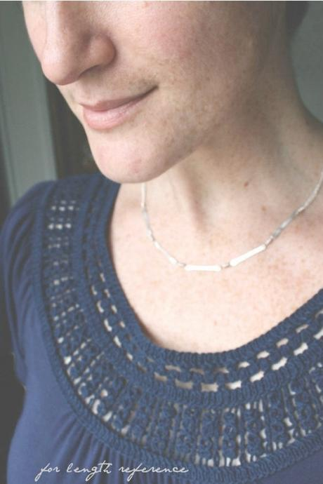 Minimal jewelry sterling silver necklace hammered links double chain modern