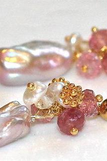 Shimmery Baroque Pearl Keshi Pearls Pink Tourmaline Gold Vermeil Dangle Earrings