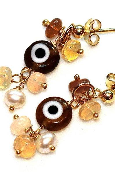 I Am Giving You the Opalescent Evil Eye Dangle Millefiori Amber Opal Gold Vermeil Pearl Earrings