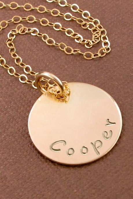 Hand stamped gold necklace: 14K gold filled disc charm necklace