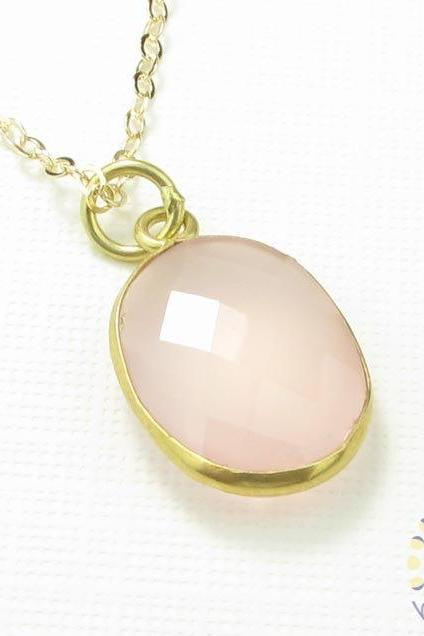 Bezel necklace pink rose quartz pendant set in 22k gold vermeil with gold filled chain gold pendant
