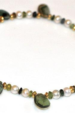 Green With Envy Watermelon Tourmaline Slice and Freshwater Pearl Gold Bali Vermeil Bracelet