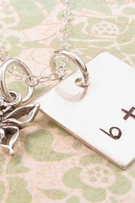 Personalized charm necklace: monogrammed stamped silver charm