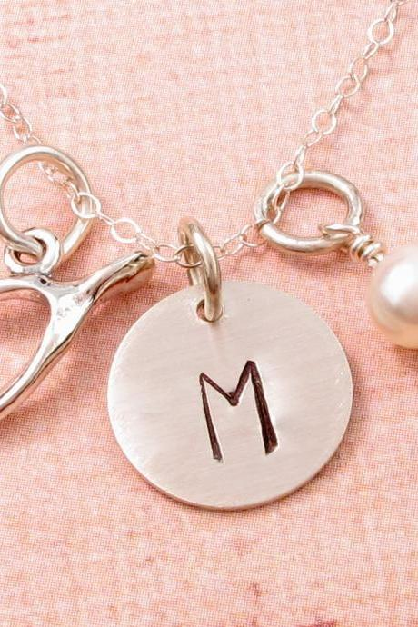 Sterling silver wishbone charm necklace: HAND STAMPED initial and pearl