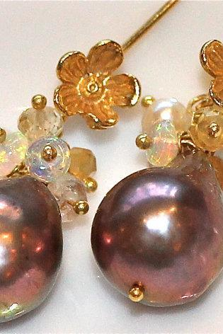 Purple Pondslime and Keshi Freshwater Pearl Ethiopian Opal Dangle Gold Vermeil Earrings