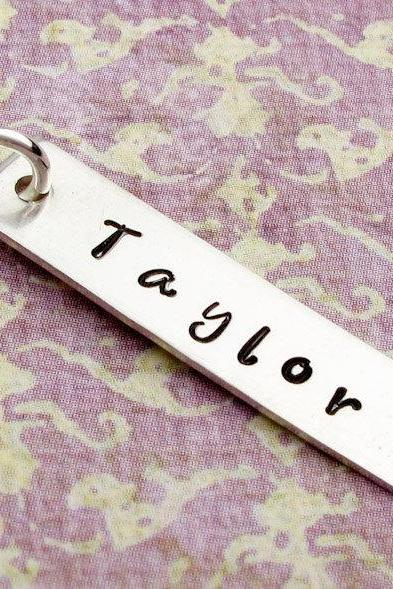 Engraved name tag: Add on to any necklace in my shop silver name charm