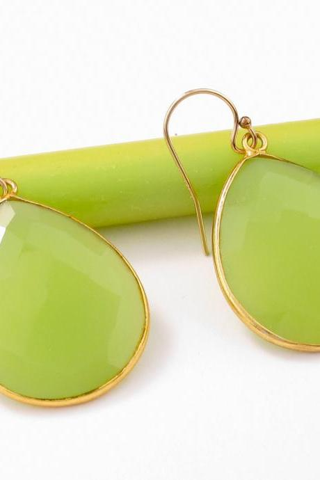 Green chalcedony earrings: lime green faceted gemstones set in vermeil bezel