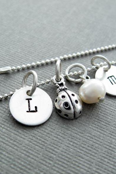 Initial Charm Necklace Silver Charm Necklace Initial Necklace Pendant Charm