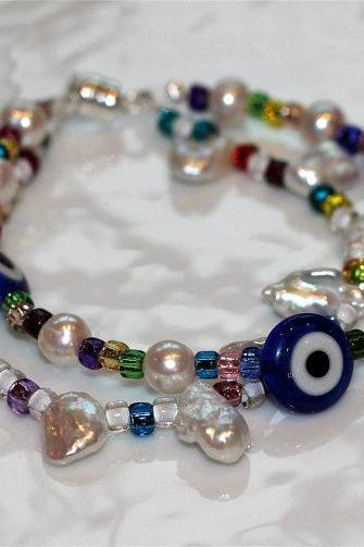 Pearly Evil Eye Multicolor Multistrand Millefiori Pearl Silver Charm Sparkle Bangle
