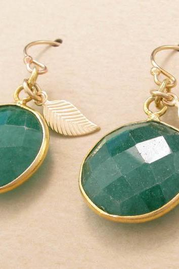 Emerald earrings: gold bezel set faceted green gemstone drops in 14k