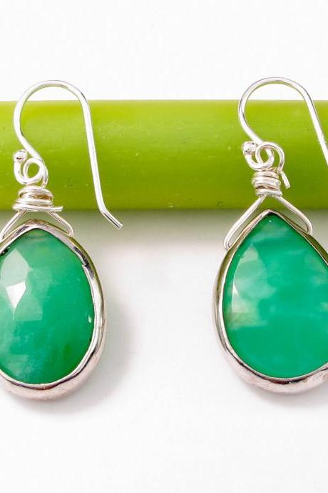 Green Chrysoprase earrings: Bezel set sterling silver green gemstone earrings