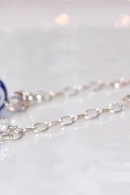 Ol' Blue Evil Eye Sparkle Silver Crystal Chain Dangle Earrings