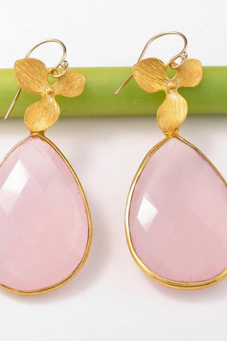 Pink Rose Quartz Earrings: 24k Gold Vermeil earrings bezel set gemstones