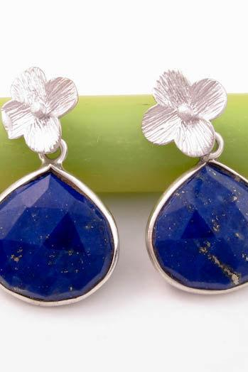 Lapis earrings: Bezel set sterling silver lapis lazuli blue gemstone earrings