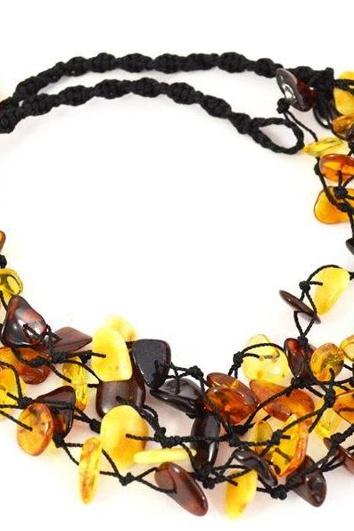 Amber necklace / Natural multicolored Charm macrame braided necklace for adults -0175_1
